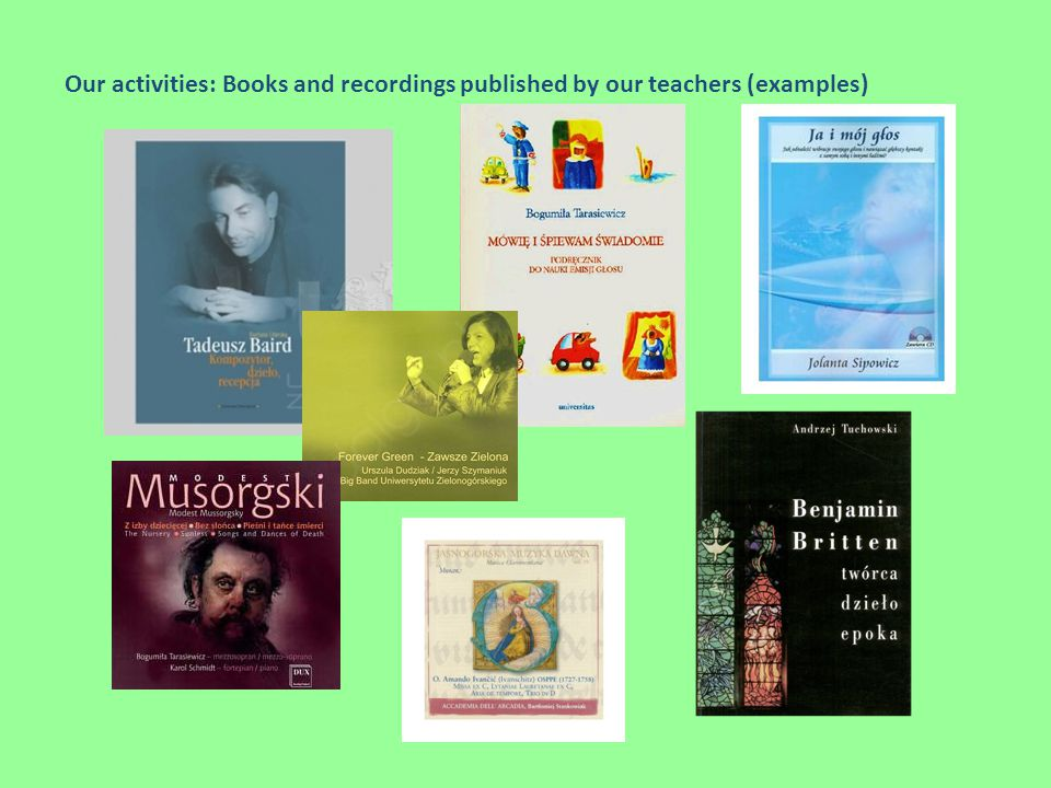 Our activities: Books and recordings published by our teachers (examples)