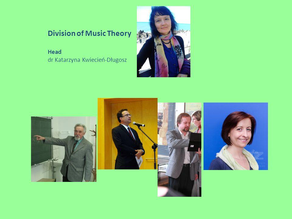 Division of Music Theory Head dr Katarzyna Kwiecień-Długosz