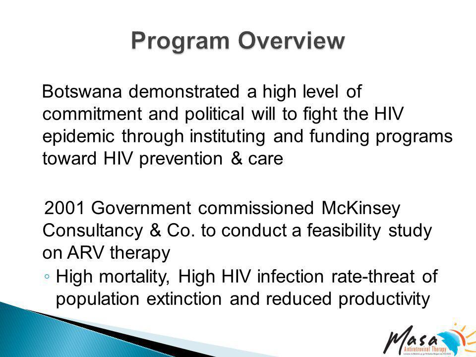 Botswana demonstrated a high level of commitment and political will to fight the HIV epidemic through instituting and funding programs toward HIV prevention & care 2001 Government commissioned McKinsey Consultancy & Co.