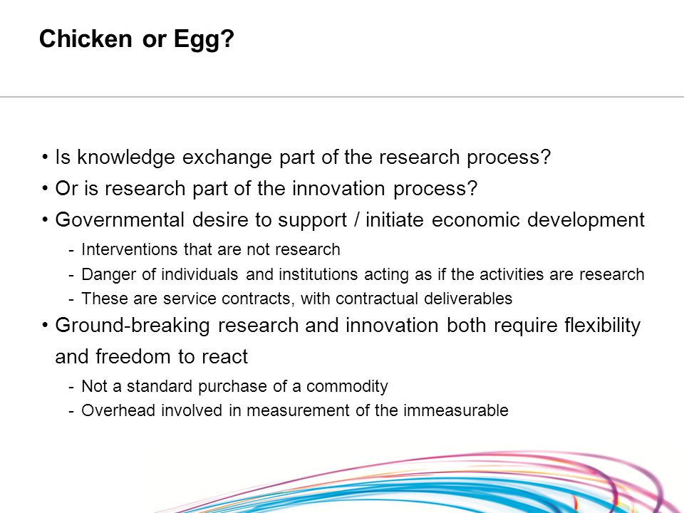 Chicken or Egg. Is knowledge exchange part of the research process.