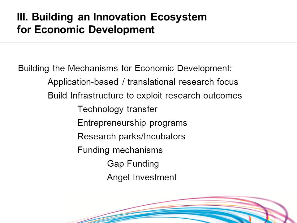 III. Building an Innovation Ecosystem for Economic Development Building the Mechanisms for Economic Development: Application-based / translational res