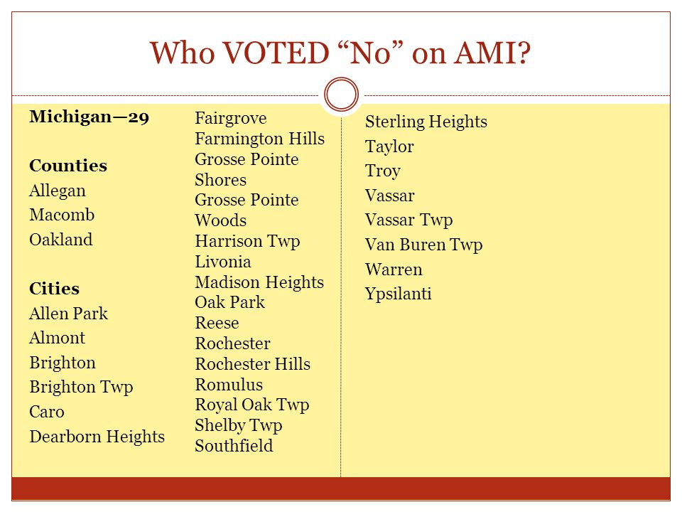 "Who VOTED ""No"" on AMI? Michigan—29 Counties Allegan Macomb Oakland Cities Allen Park Almont Brighton Brighton Twp Caro Dearborn Heights Sterling Heigh"
