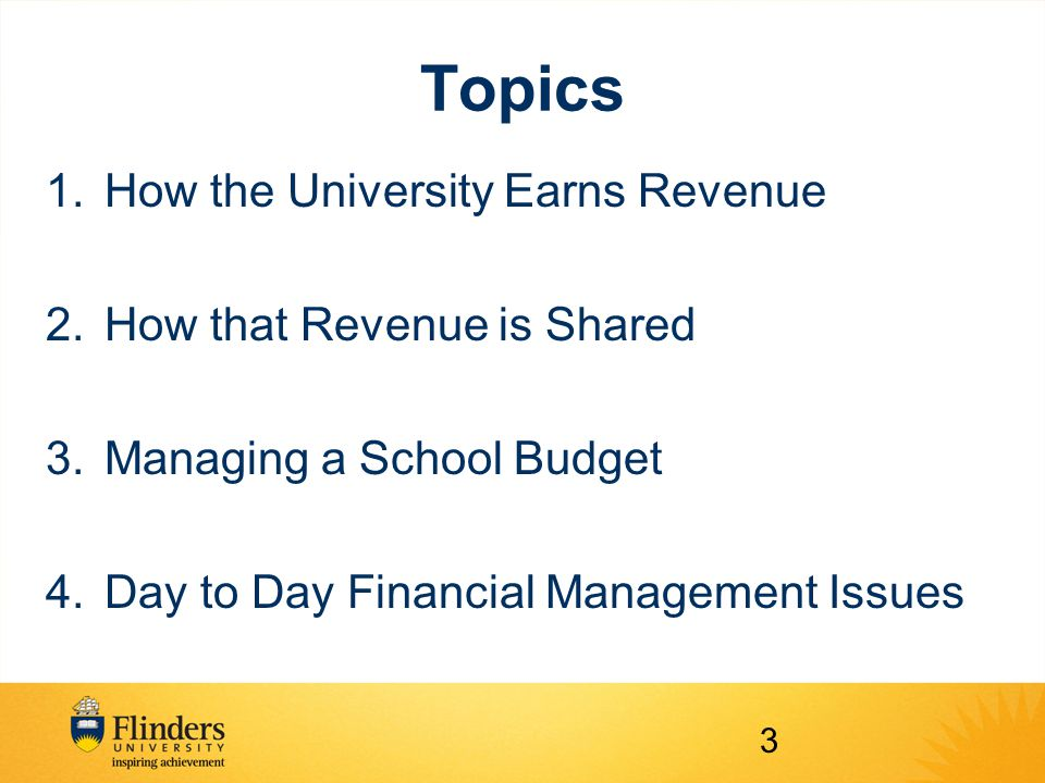 Topics 1.How the University Earns Revenue 2.How that Revenue is Shared 3.Managing a School Budget 4.Day to Day Financial Management Issues 3