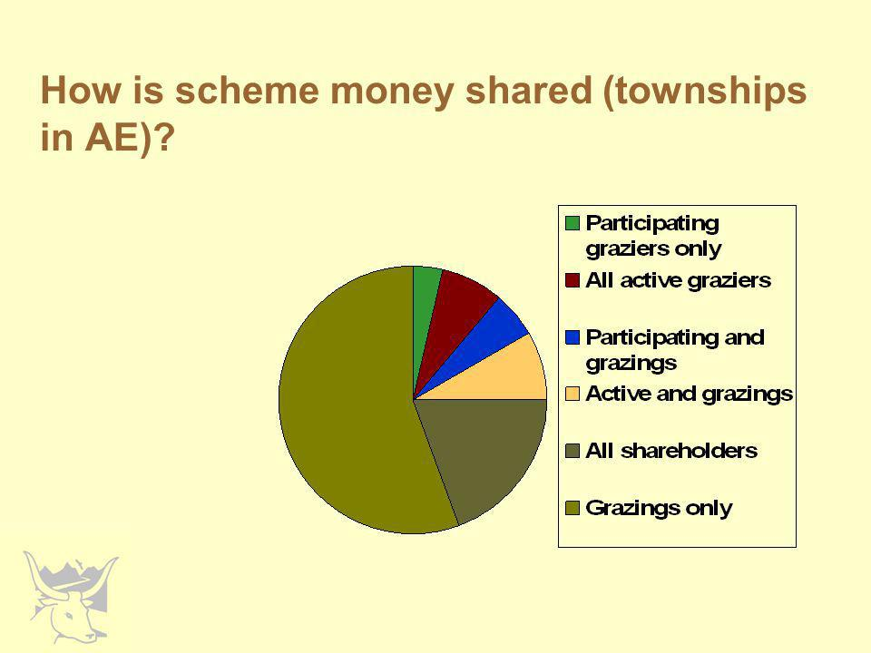 How is scheme money shared (townships in AE)