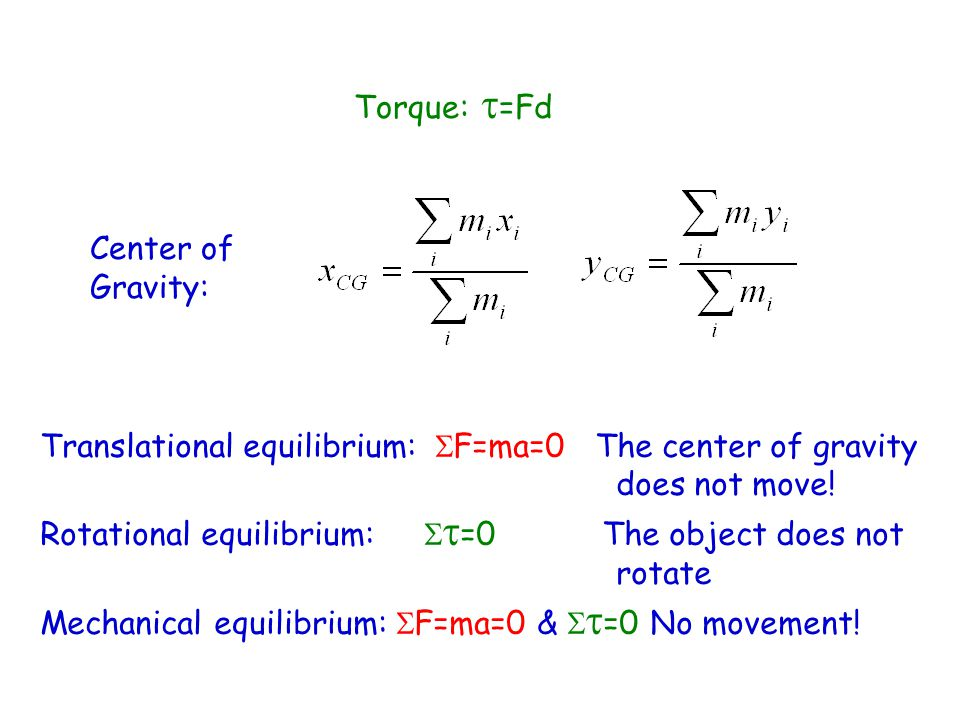 Translational equilibrium:  F=ma=0 The center of gravity does not move.