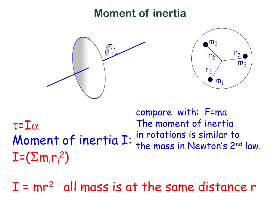  =I  Moment of inertia I: I=(  m i r i 2 ) I = mr 2 all mass is at the same distance r compare with: F=ma The moment of inertia in rotations is similar to the mass in Newton's 2 nd law.