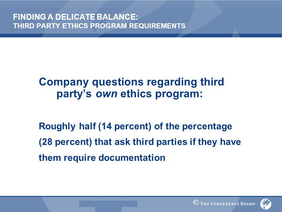 © FINDING A DELICATE BALANCE: THIRD PARTY ETHICS PROGRAM REQUIREMENTS Company questions regarding third party's own ethics program: Roughly half (14 percent) of the percentage (28 percent) that ask third parties if they have them require documentation
