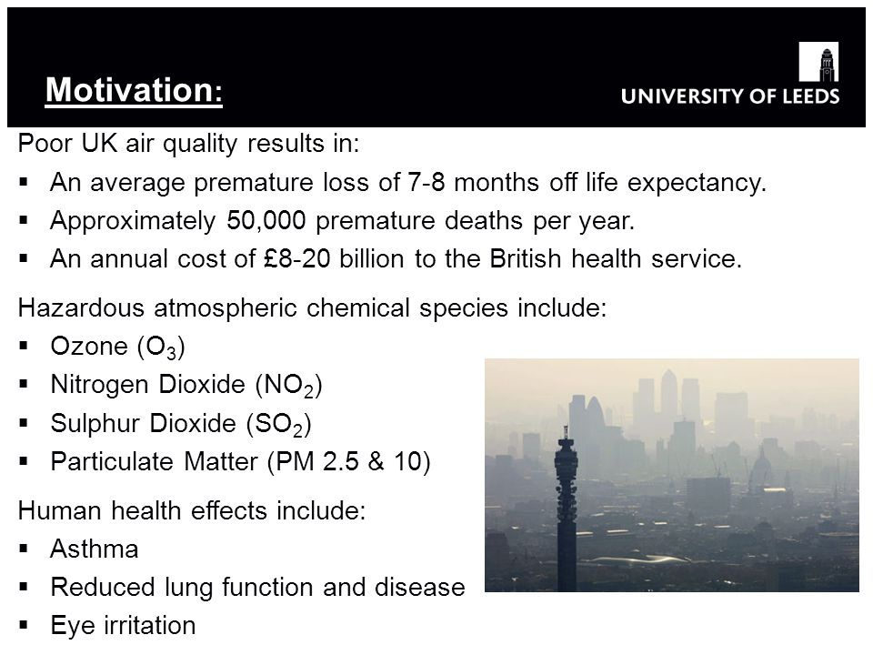 Motivation : Poor UK air quality results in:  An average premature loss of 7-8 months off life expectancy.