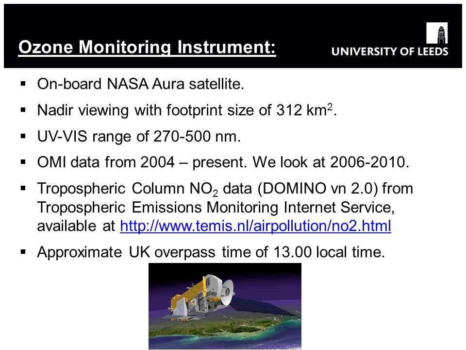  On-board NASA Aura satellite.  Nadir viewing with footprint size of 312 km 2.