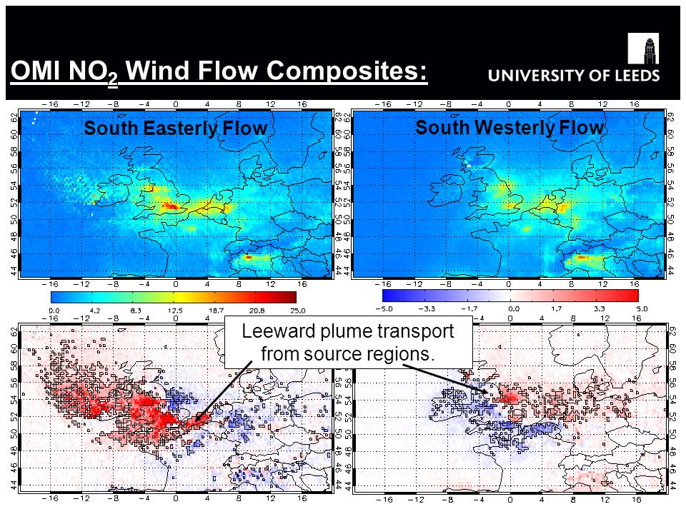 OMI NO 2 Wind Flow Composites: South Easterly Flow South Westerly Flow Leeward plume transport from source regions.
