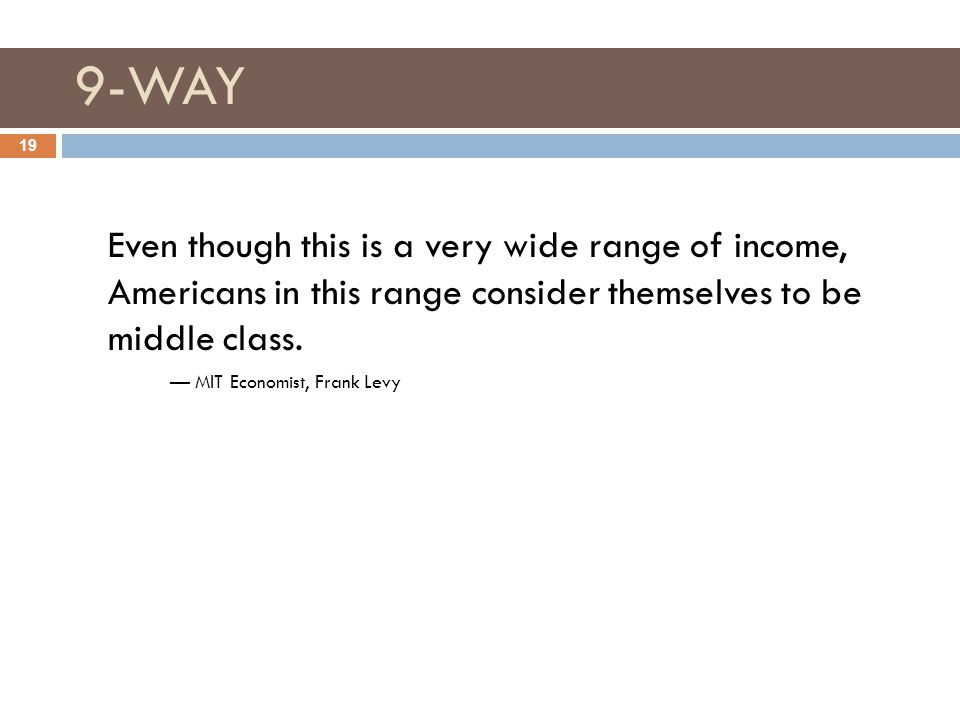 9-WAY 19 Even though this is a very wide range of income, Americans in this range consider themselves to be middle class.