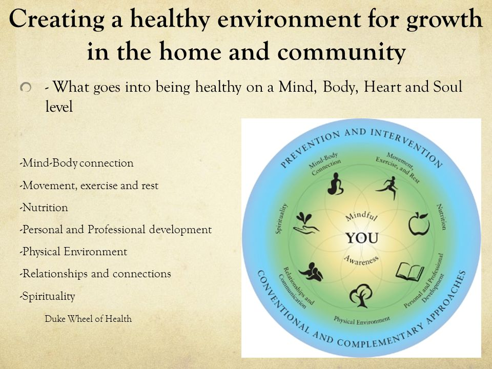 Creating a healthy environment for growth in the home and community - What goes into being healthy on a Mind, Body, Heart and Soul level -Mind-Body connection -Movement, exercise and rest -Nutrition -Personal and Professional development -Physical Environment -Relationships and connections -Spirituality Duke Wheel of Health