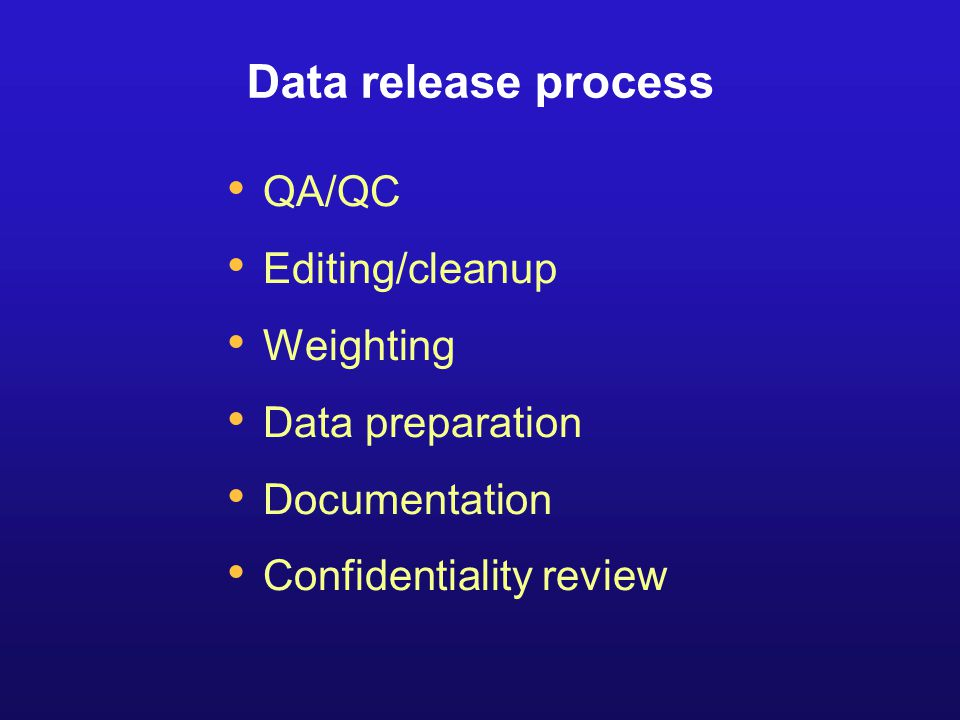 Data release process QA/QC Editing/cleanup Weighting Data preparation Documentation Confidentiality review