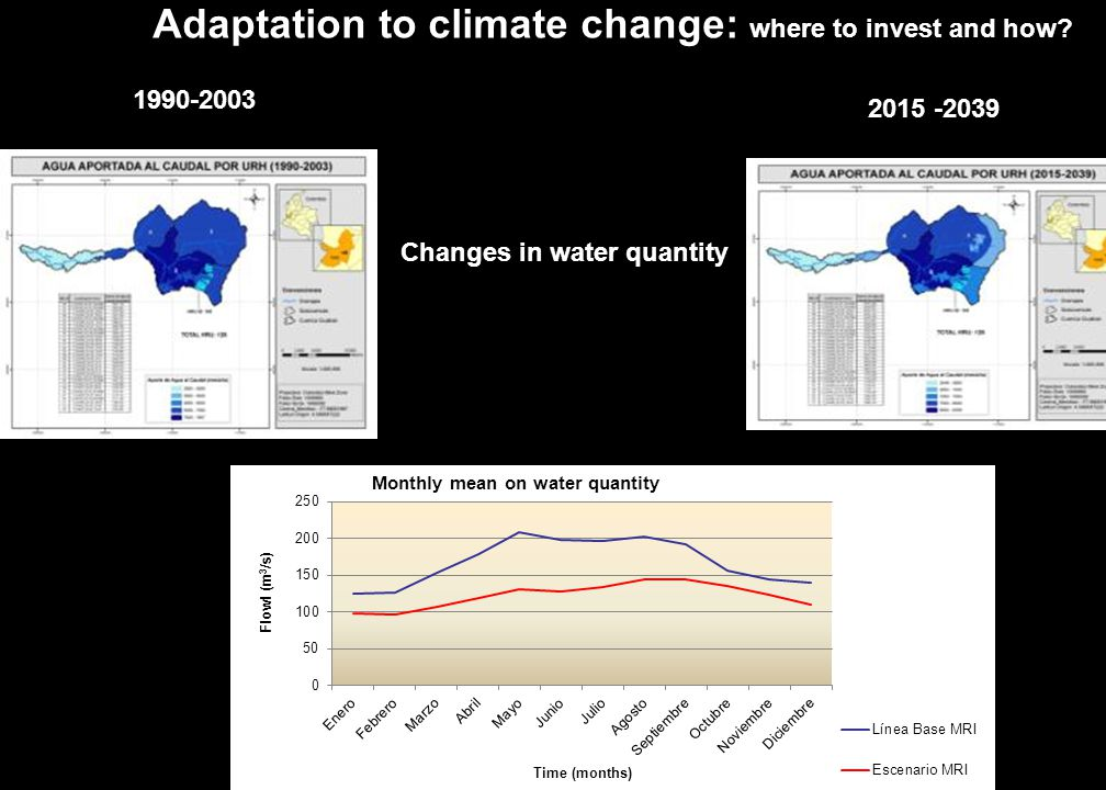 11 Changes in water quantity 1990-2003 2015 -2039 Adaptation to climate change: where to invest and how