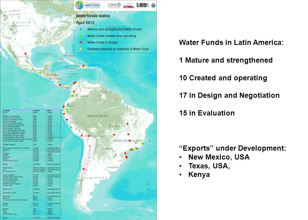 Water Funds in Latin America: 1 Mature and strengthened 10 Created and operating 17 in Design and Negotiation 15 in Evaluation Exports under Development: New Mexico, USA Texas, USA, Kenya