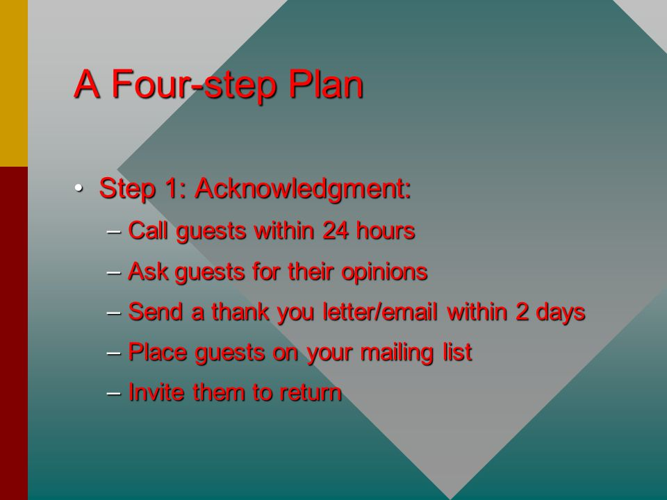 A Four-step Plan Step 1: Acknowledgment:Step 1: Acknowledgment: –Call guests within 24 hours –Ask guests for their opinions –Send a thank you letter/email within 2 days –Place guests on your mailing list –Invite them to return