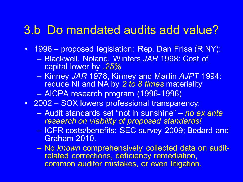 3.b Do mandated audits add value.1996 – proposed legislation: Rep.