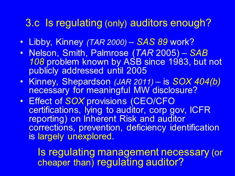 3.c Is regulating (only) auditors enough.Libby, Kinney (TAR 2000) – SAS 89 work.
