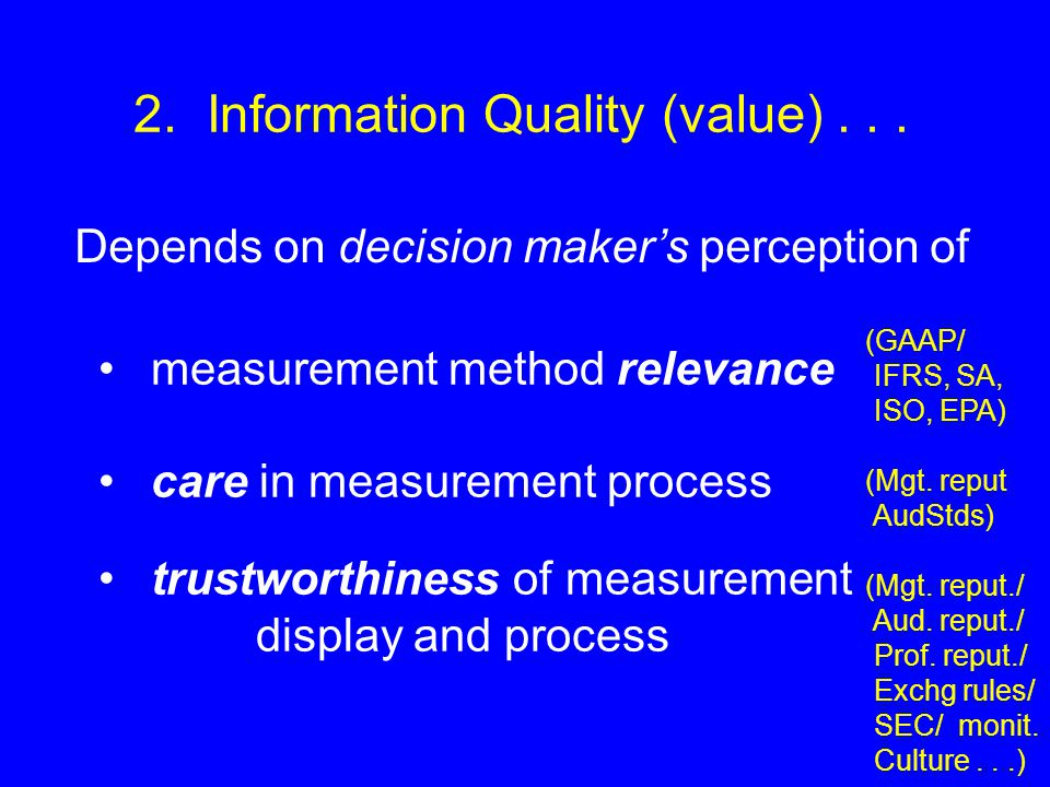 measurement method relevance care in measurement process trustworthiness of measurement display and process 2.