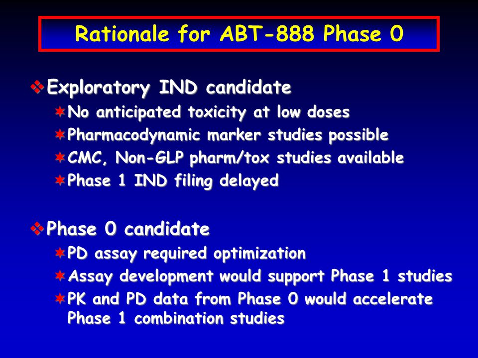 Rationale for ABT-888 Phase 0  Exploratory IND candidate ¬No anticipated toxicity at low doses ¬Pharmacodynamic marker studies possible ¬CMC, Non-GLP pharm/tox studies available ¬Phase 1 IND filing delayed  Phase 0 candidate ¬PD assay required optimization ¬Assay development would support Phase 1 studies ¬PK and PD data from Phase 0 would accelerate Phase 1 combination studies