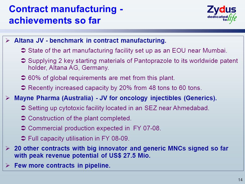 14  Altana JV - benchmark in contract manufacturing.