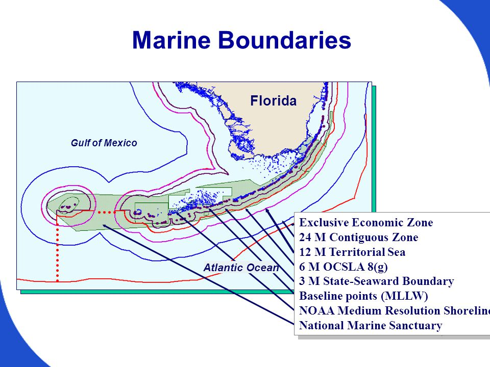 Atlantic Ocean Marine Boundaries Gulf of Mexico Florida Exclusive Economic Zone 24 M Contiguous Zone 12 M Territorial Sea 6 M OCSLA 8(g) 3 M State-Seaward Boundary Baseline points (MLLW) NOAA Medium Resolution Shoreline National Marine Sanctuary Exclusive Economic Zone 24 M Contiguous Zone 12 M Territorial Sea 6 M OCSLA 8(g) 3 M State-Seaward Boundary Baseline points (MLLW) NOAA Medium Resolution Shoreline National Marine Sanctuary