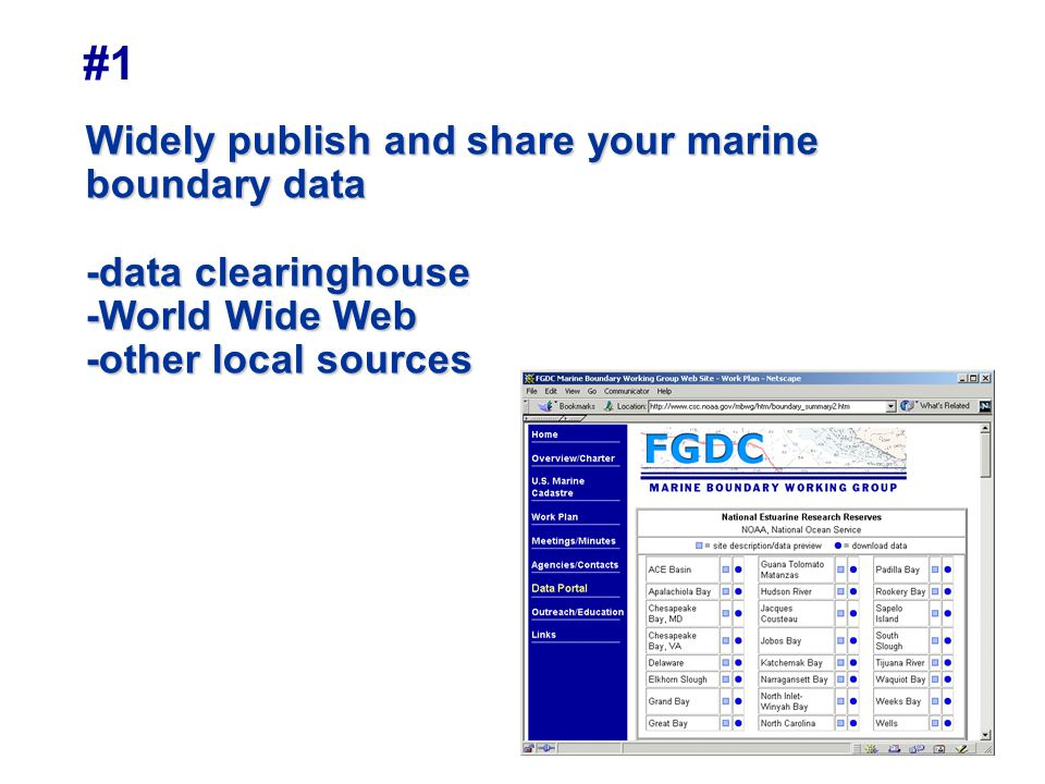 #1 Widely publish and share your marine boundary data -data clearinghouse -World Wide Web -other local sources