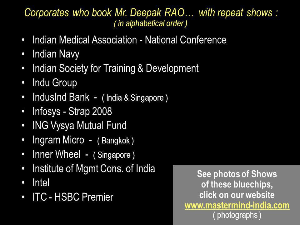 Indian Medical Association - National Conference Indian Navy Indian Society for Training & Development Indu Group IndusInd Bank - ( India & Singapore ) Infosys - Strap 2008 ING Vysya Mutual Fund Ingram Micro - ( Bangkok ) Inner Wheel - ( Singapore ) Institute of Mgmt Cons.