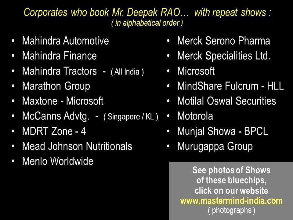 Mahindra Automotive Mahindra Finance Mahindra Tractors - ( All India ) Marathon Group Maxtone - Microsoft McCanns Advtg.