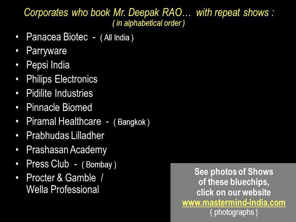 Corporates who book Mr.
