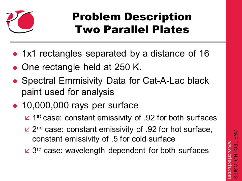 C&R TECHNOLOGIES www.crtech.com Problem Description Two Parallel Plates l 1x1 rectangles separated by a distance of 16 l One rectangle held at 250 K.