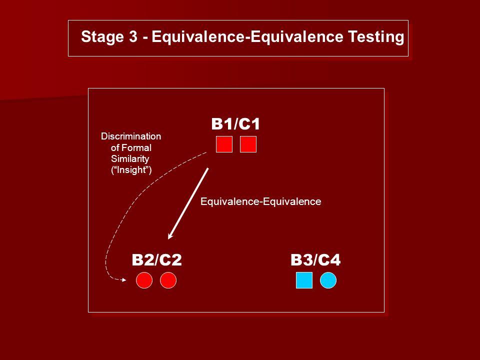 B1/C1 B2/C2B3/C4 Stage 3 - Equivalence-Equivalence Testing Equivalence-Equivalence Discrimination of Formal Similarity ( Insight )