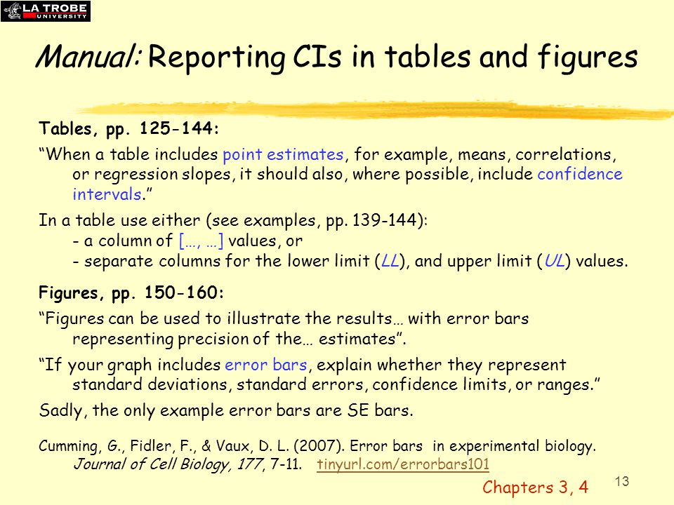 "13 Manual: Reporting CIs in tables and figures Tables, pp. 125-144: ""When a table includes point estimates, for example, means, correlations, or regre"