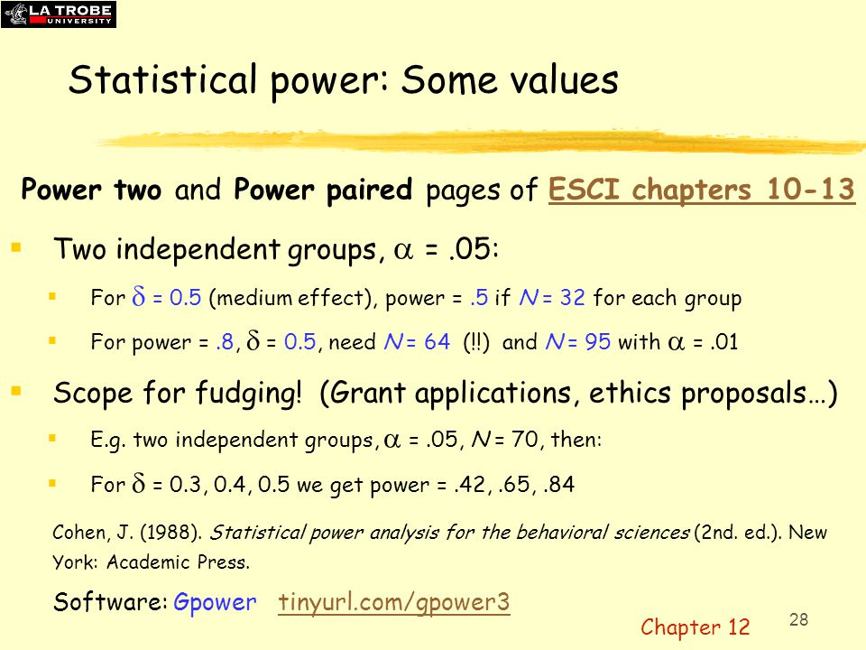 28 Statistical power: Some values Power two and Power paired pages of ESCI chapters 10-13ESCI chapters 10-13  Two independent groups,  =.05:  For 