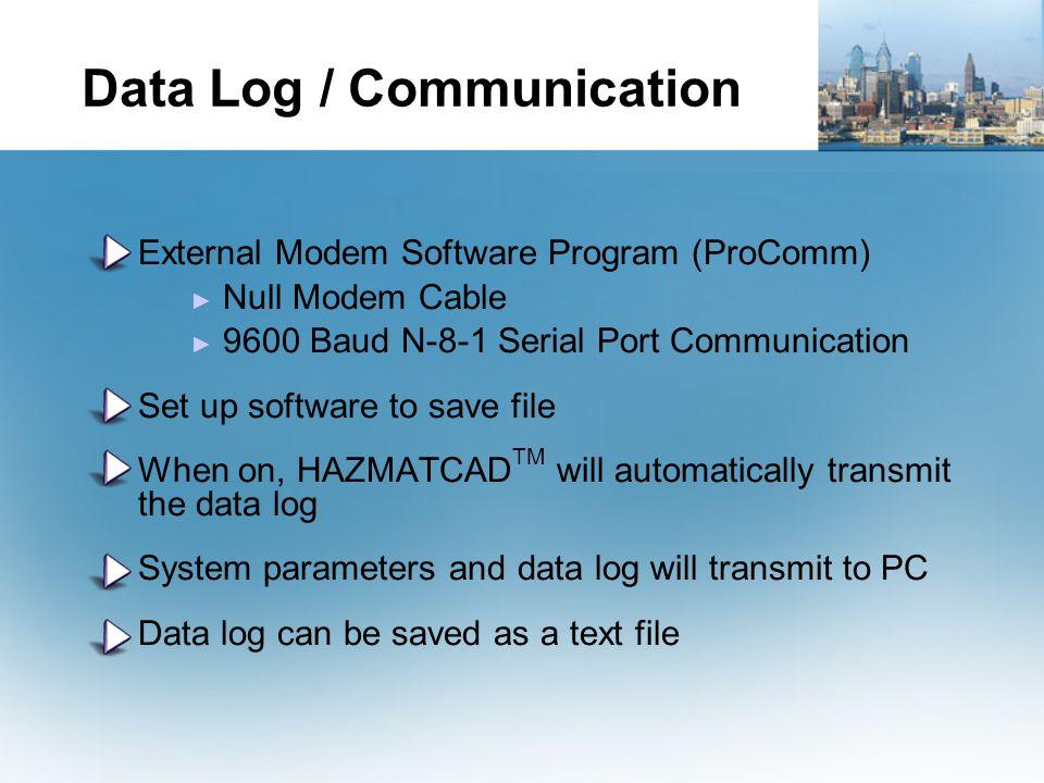Data Log / Communication External Modem Software Program (ProComm) ► Null Modem Cable ► 9600 Baud N-8-1 Serial Port Communication Set up software to s