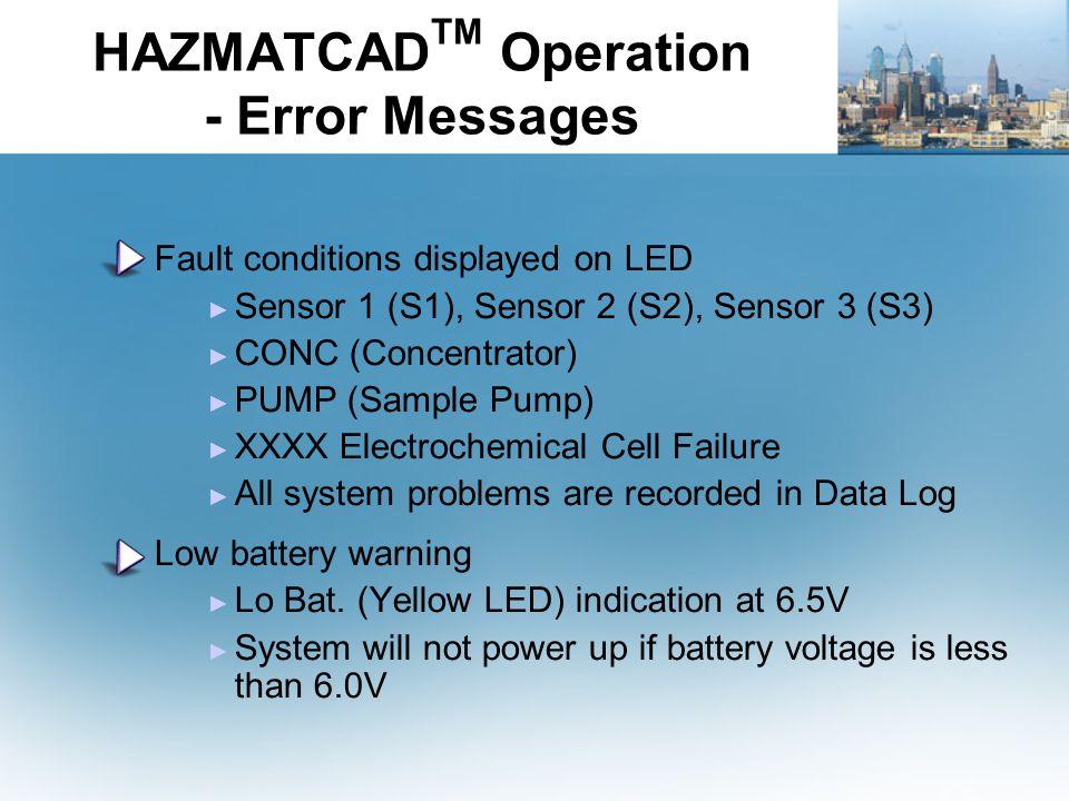 HAZMATCAD TM Operation - Error Messages Fault conditions displayed on LED ► Sensor 1 (S1), Sensor 2 (S2), Sensor 3 (S3) ► CONC (Concentrator) ► PUMP (