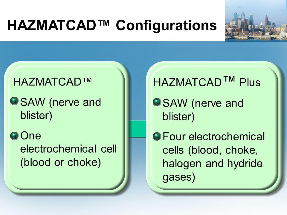 HAZMATCAD™ SAW (nerve and blister) One electrochemical cell (blood or choke) HAZMATCAD ™ Plus SAW (nerve and blister) Four electrochemical cells (blood, choke, halogen and hydride gases) HAZMATCAD™ Configurations
