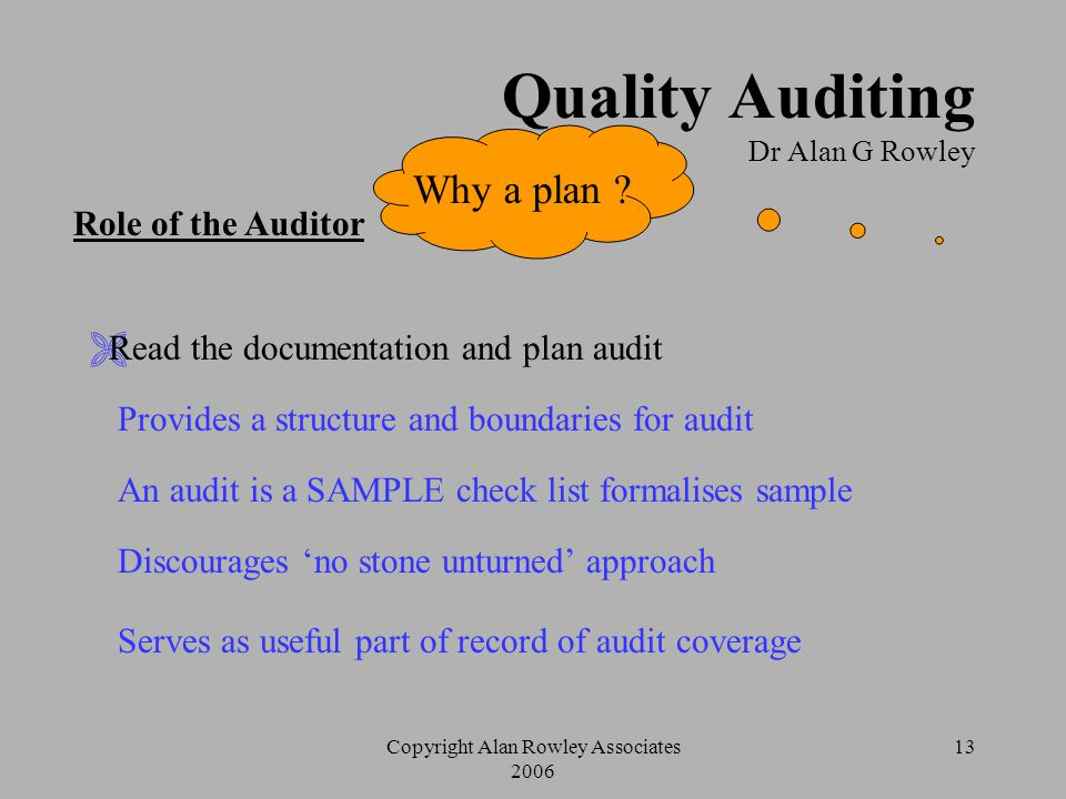 Copyright Alan Rowley Associates 2006 12 Quality Auditing Dr Alan G Rowley Role of the Auditor  Be clear about the scope of the audit