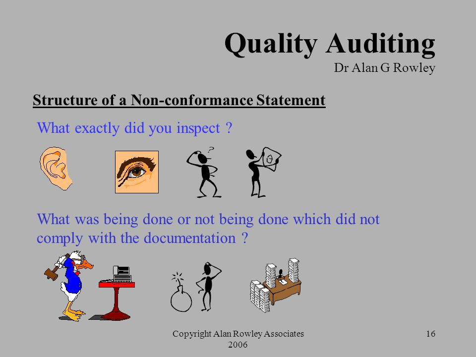 Copyright Alan Rowley Associates 2006 15 Quality Auditing Dr Alan G Rowley Role of the Auditor  Carry out the audit and record the details of systems