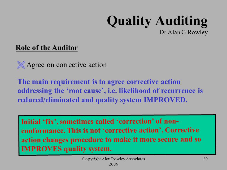 Copyright Alan Rowley Associates 2006 19 Quality Auditing Dr Alan G Rowley Structure of a Non-conformance Statement How do you know what should be bei