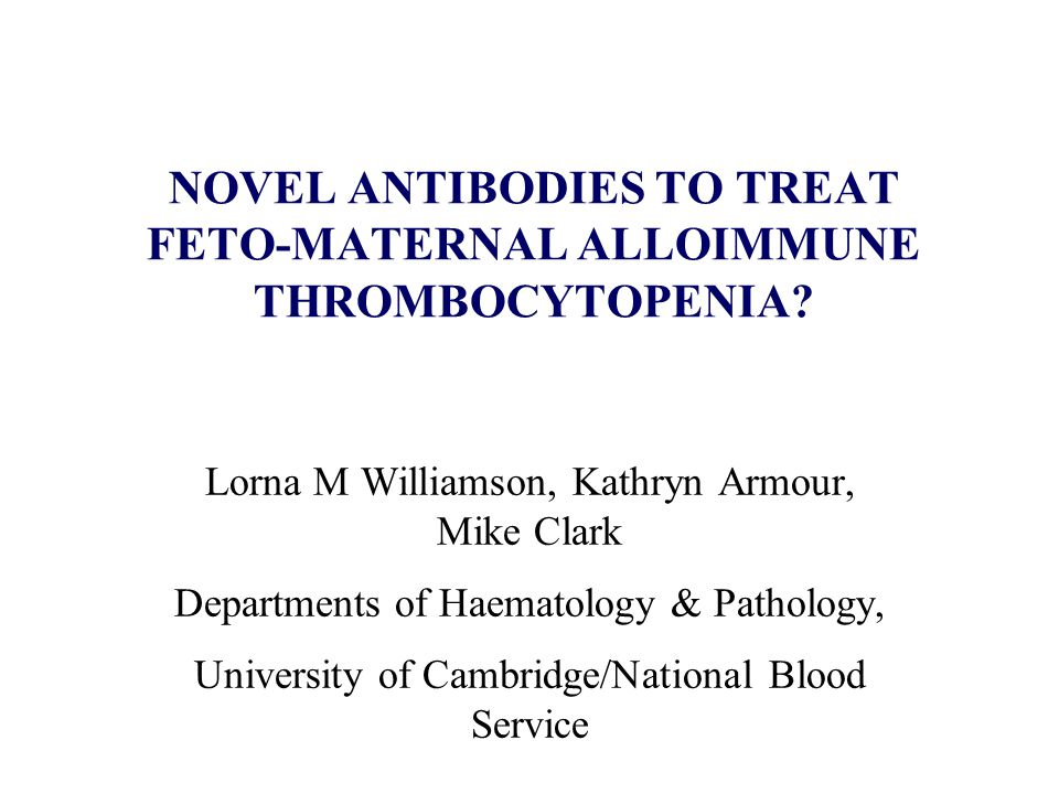 NOVEL ANTIBODIES TO TREAT FETO-MATERNAL ALLOIMMUNE THROMBOCYTOPENIA? Lorna M Williamson, Kathryn Armour, Mike Clark Departments of Haematology & Patho