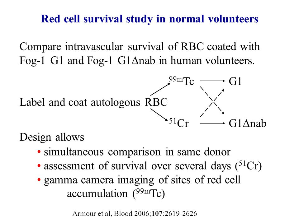 Red cell survival study in normal volunteers Compare intravascular survival of RBC coated with Fog-1 G1 and Fog-1 G1  nab in human volunteers. 99m Tc