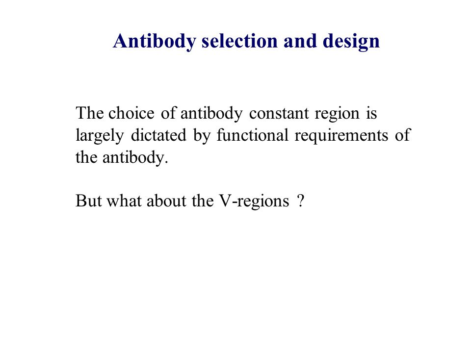Antibody selection and design The choice of antibody constant region is largely dictated by functional requirements of the antibody. But what about th