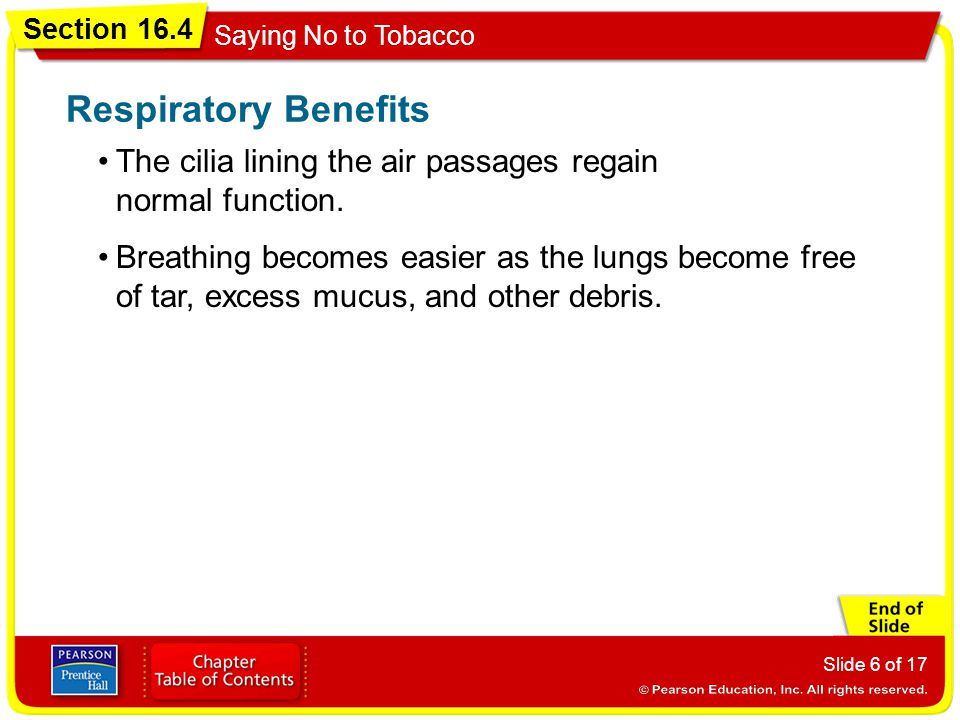 Section 16.4 Saying No to Tobacco Slide 6 of 17 The cilia lining the air passages regain normal function. Respiratory Benefits Breathing becomes easie