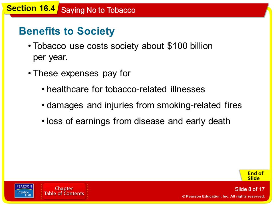 Section 16.4 Saying No to Tobacco Slide 8 of 17 Tobacco use costs society about $100 billion per year. Benefits to Society These expenses pay for heal