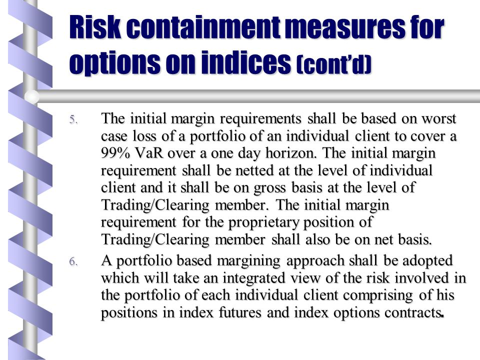 Risk containment measures for options on indices 1. The index option contracts to be traded on the derivative exchange/segments shall have prior appro