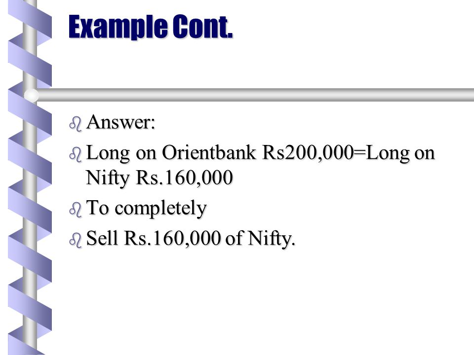 Example b Stock=Orientbank b Beta=0.8% b Long Position of Rs.200,000 b Which of the following is complete hedge? b Sell 200,000 Nifty b Buy 200,000 of