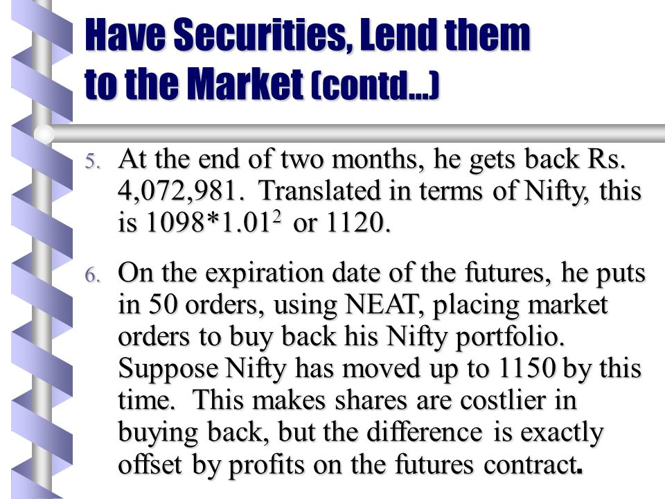 Have Securities, Lend them to the Market (contd…) 2. A moment later, Akash puts in a market order to buy Rs. 4 million of the Nifty futures. The order