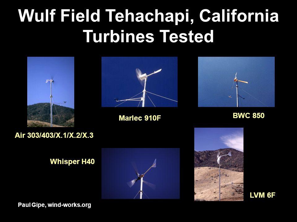 Wulf Field Tehachapi, California Turbines Tested Air 303/403/X.1/X.2/X.3 BWC 850 Marlec 910F LVM 6F Whisper H40 Paul Gipe, wind-works.org