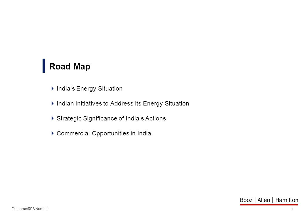 1Filename/RPS Number Road Map  India's Energy Situation  Indian Initiatives to Address its Energy Situation  Strategic Significance of India's Actions  Commercial Opportunities in India